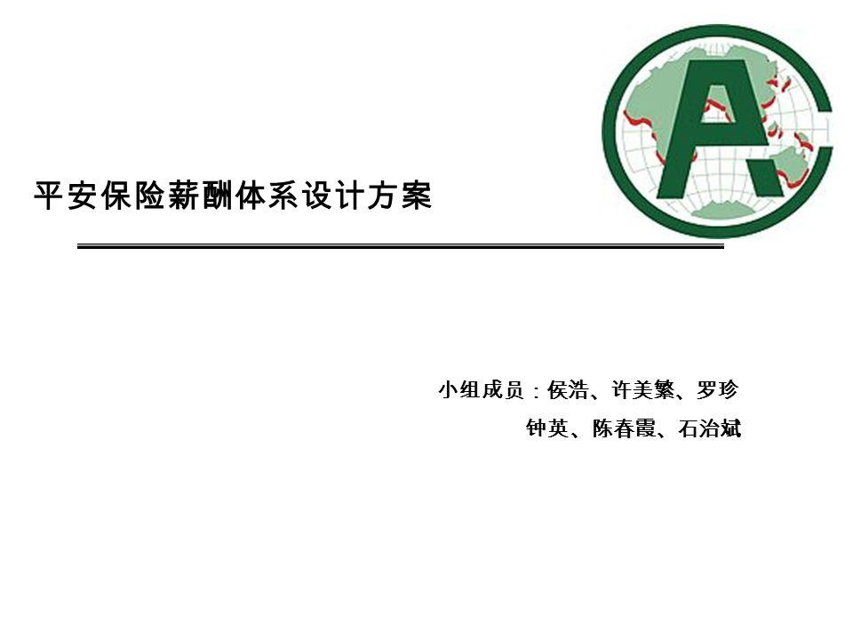 平安保险薪酬体系设计方案 小组成员:侯浩、许美繁、罗珍 钟英、陈春霞、石治斌