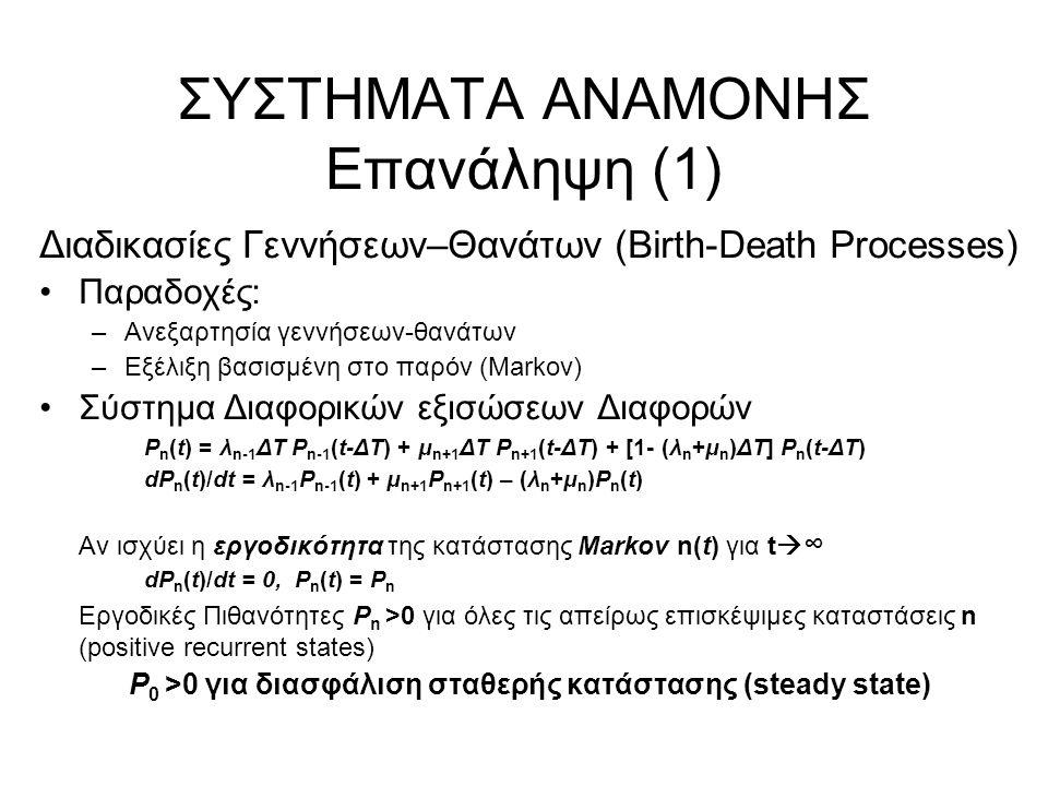 ΣΥΣΤΗΜΑΤΑ ΑΝΑΜΟΝΗΣ Επανάληψη (1) Διαδικασίες Γεννήσεων–Θανάτων (Birth-Death Processes) Παραδοχές: –Ανεξαρτησία γεννήσεων-θανάτων –Εξέλιξη βασισμένη στο παρόν (Markov) Σύστημα Διαφορικών εξισώσεων Διαφορών P n (t) = λ n-1 ΔΤ P n-1 (t-ΔΤ) + μ n+1 ΔΤ P n+1 (t-ΔΤ) + [1- (λ n +μ n )ΔΤ] P n (t-ΔΤ) dP n (t)/dt = λ n-1 P n-1 (t) + μ n+1 P n+1 (t) – (λ n +μ n )P n (t) Αν ισχύει η εργοδικότητα της κατάστασης Markov n(t) για t  ∞ dP n (t)/dt = 0, P n (t) = P n Εργοδικές Πιθανότητες P n >0 για όλες τις απείρως επισκέψιμες καταστάσεις n (positive recurrent states) P 0 >0 για διασφάλιση σταθερής κατάστασης (steady state)