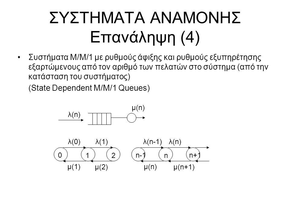 ΣΥΣΤΗΜΑΤΑ ΑΝΑΜΟΝΗΣ Επανάληψη (4) Συστήματα Μ/Μ/1 με ρυθμούς άφιξης και ρυθμούς εξυπηρέτησης εξαρτώμενους από τον αριθμό των πελατών στο σύστημα (από την κατάσταση του συστήματος) (State Dependent M/M/1 Queues) λ(n) μ(n) λ(0)λ(1)λ(n-1) μ(1) μ(2) λ(n) μ(n) μ(n+1) 0 12 n-1 n n+1