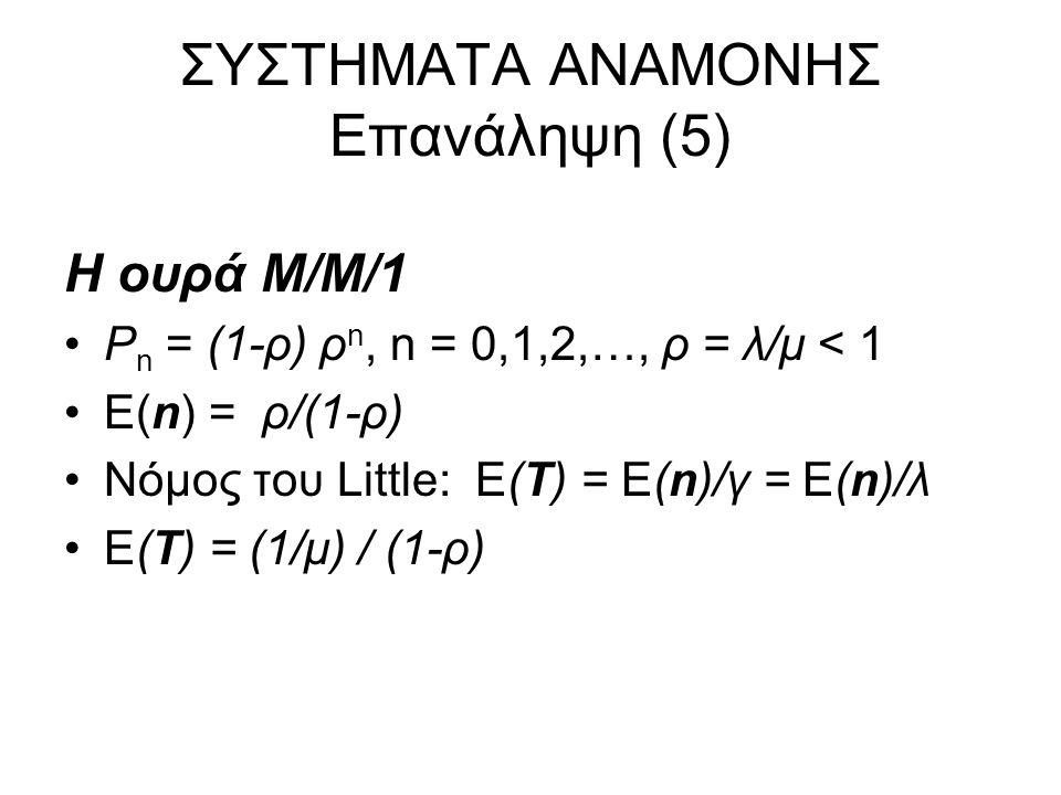 ΣΥΣΤΗΜΑΤΑ ΑΝΑΜΟΝΗΣ Επανάληψη (6) Άλλες Ουρές Markov –M/M/1/K (ουρά με μέγιστη χωρητικότητα Κ, συμπεριλαμβανομένου του εξυπηρετουμένου) Πιθανότητα απώλειας, P{blocking} P bl = P Κ = P ο ρ Κ, P 0 = (1-ρ)/(1-ρ Κ+1 ) Ρυθμαπόδοση (Throughput) γ = λ (1- P Κ ) Μέση Καθυστέρηση Ε(Τ) = Ε(n)/γ –Μ/Μ/Ν/Κ (ουρά με Ν εξυπηρετητές, χωρητικότητα K) P n = λ/(nμ) P n-1, n=0,1,2,…,K, P 0 + P 1 +…+ P K-1 + P K = 1