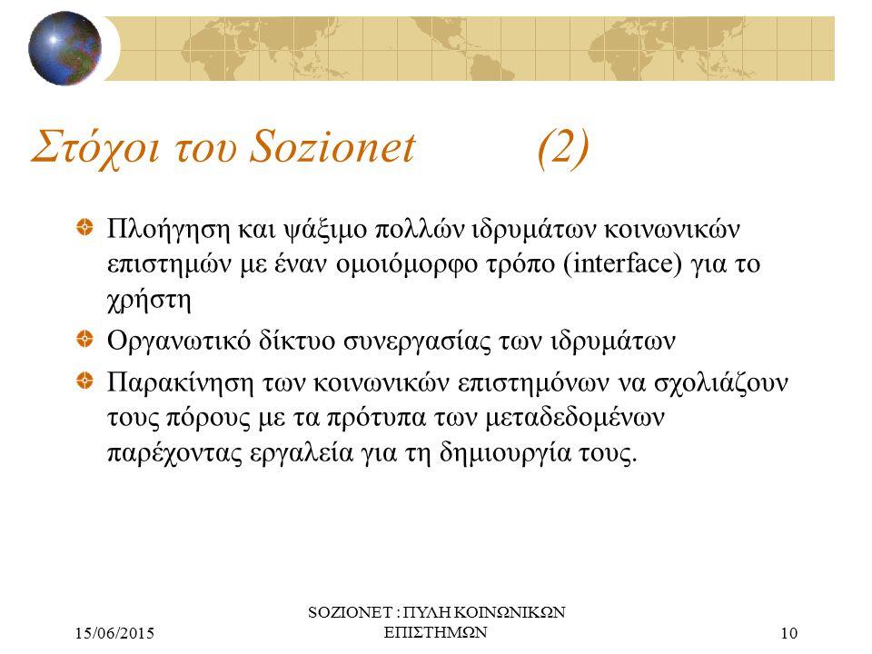 15/06/2015 SOZIONET : ΠΥΛΗ ΚΟΙΝΩΝΙΚΩΝ ΕΠΙΣΤΗΜΩΝ10 Στόχοι του Sozionet (2) Πλοήγηση και ψάξιμο πολλών ιδρυμάτων κοινωνικών επιστημών με έναν ομοιόμορφο τρόπο (interface) για το χρήστη Οργανωτικό δίκτυο συνεργασίας των ιδρυμάτων Παρακίνηση των κοινωνικών επιστημόνων να σχολιάζουν τους πόρους με τα πρότυπα των μεταδεδομένων παρέχοντας εργαλεία για τη δημιουργία τους.