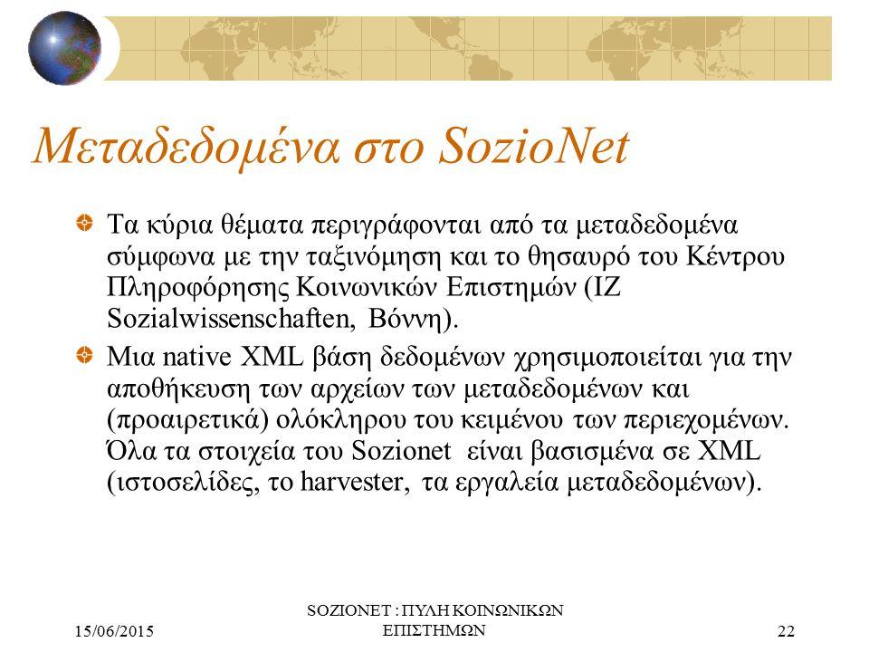 15/06/2015 SOZIONET : ΠΥΛΗ ΚΟΙΝΩΝΙΚΩΝ ΕΠΙΣΤΗΜΩΝ22 Μεταδεδομένα στο SozioNet Τα κύρια θέματα περιγράφονται από τα μεταδεδομένα σύμφωνα με την ταξινόμησ