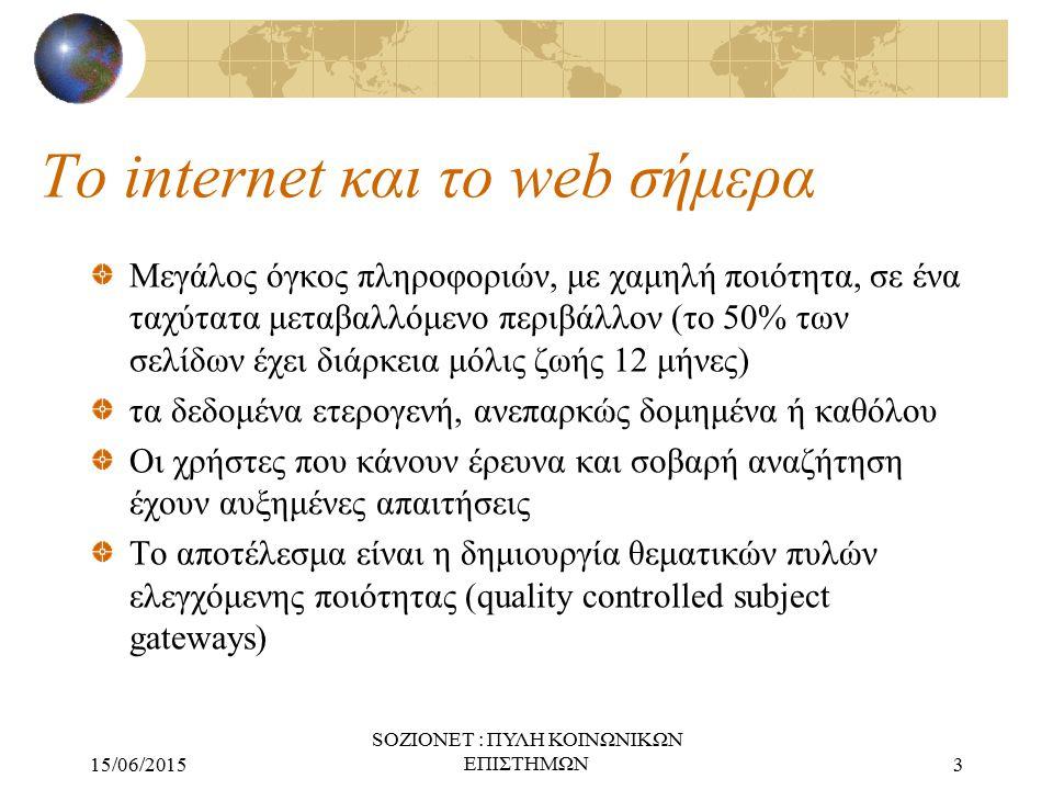 15/06/2015 SOZIONET : ΠΥΛΗ ΚΟΙΝΩΝΙΚΩΝ ΕΠΙΣΤΗΜΩΝ3 Το internet και το web σήμερα Μεγάλος όγκος πληροφοριών, με χαμηλή ποιότητα, σε ένα ταχύτατα μεταβαλλόμενο περιβάλλον (το 50% των σελίδων έχει διάρκεια μόλις ζωής 12 μήνες) τα δεδομένα ετερογενή, ανεπαρκώς δομημένα ή καθόλου Οι χρήστες που κάνουν έρευνα και σοβαρή αναζήτηση έχουν αυξημένες απαιτήσεις Το αποτέλεσμα είναι η δημιουργία θεματικών πυλών ελεγχόμενης ποιότητας (quality controlled subject gateways)