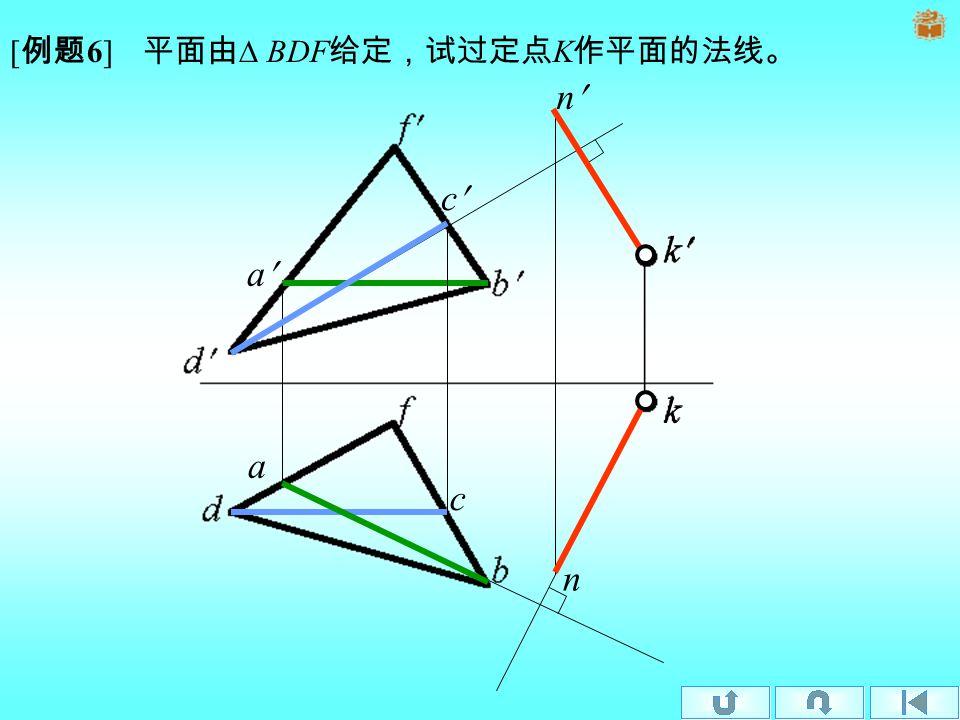 定理 2 (逆) 若一直线的水平投影垂直于属于平面的水平线的 水平投影;直线的正面投影垂直于属于平面的正平线的正面投 影,则直线必垂直于该平面。