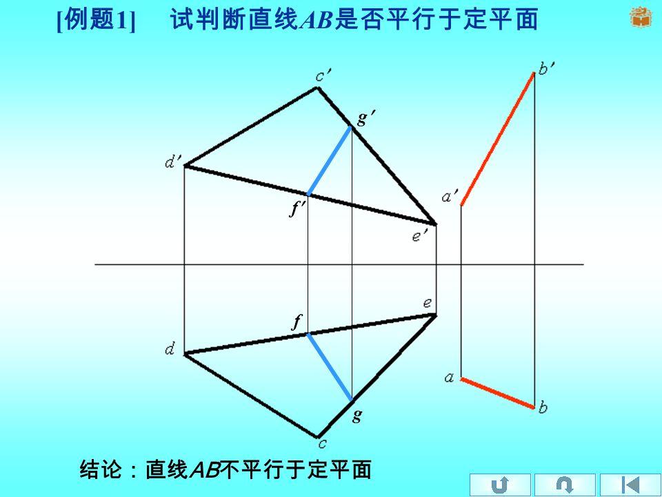 [ 例题 1] 试判断直线 AB 是否平行于定平面 f g f g 结论:直线 AB 不平行于定平面