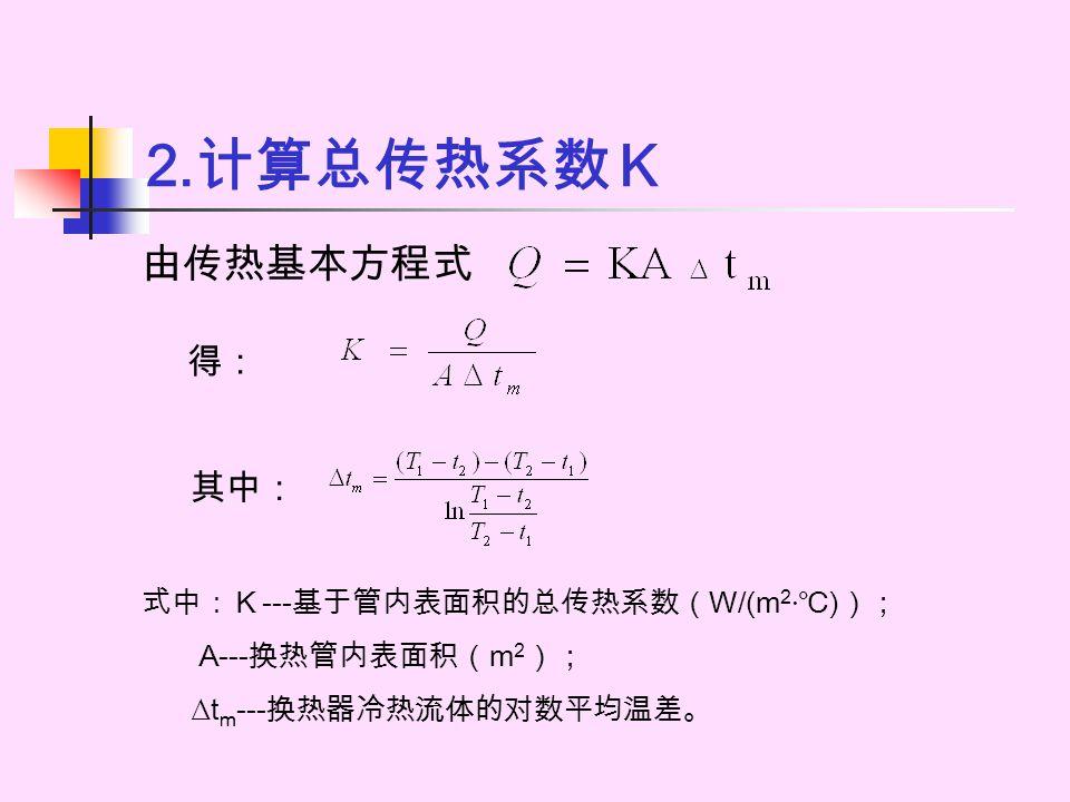 2. 计算总传热系数K 由传热基本方程式 得: 式中:K---基于管内表面积的总传热系数(W/(m 2 · ℃)); A---换热管内表面积(m 2 ); ∆t m ---换热器冷热流体的对数平均温差。 其中: