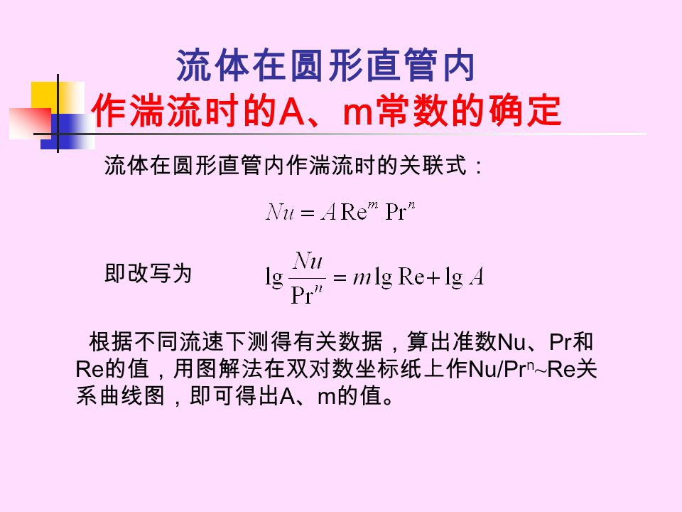 流体在圆形直管内 作湍流时的 A 、 m 常数的确定 流体在圆形直管内作湍流时的关联式: 即改写为 根据不同流速下测得有关数据,算出准数 Nu 、 Pr 和 Re 的值,用图解法在双对数坐标纸上作 Nu/Pr n ~ Re 关 系曲线图,即可得出 A 、 m 的值。