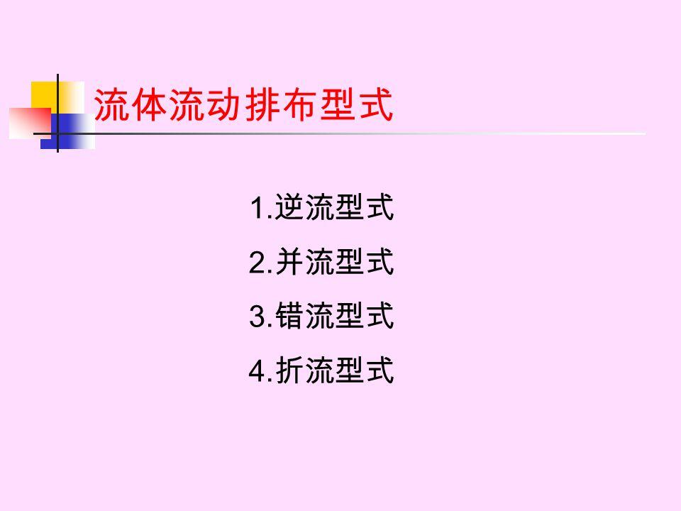 流体流动排布型式 1. 逆流型式 2. 并流型式 3. 错流型式 4. 折流型式