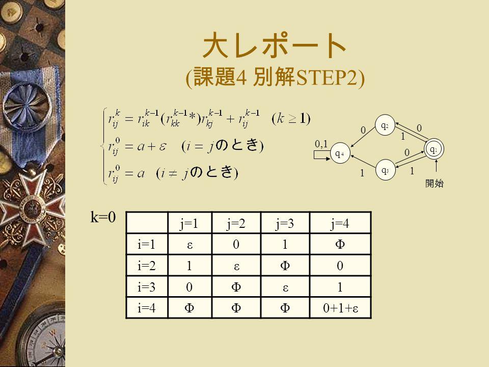 大レポート ( 課題 4 別解 STEP2) j=1j=2j=3j=4 i=1ε01Φ i=21εΦ0 i=30Φε1 i=4ΦΦΦ0+1+ε k=0 1 1 開始 q2q2 q3q3 0 0 q1q1 q4q4 0,1 1 0