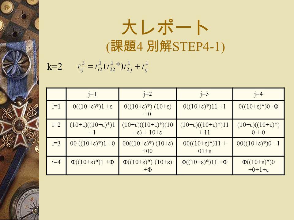 大レポート ( 課題 4 別解 STEP4-1) k=2 j=1j=2j=3j=4 i=10((10+ε)*)1 +ε0((10+ε)*) (10+ε) +0 0((10+ε)*)11 +10((10+ε)*)0+Φ i=2(10+ε)((10+ε)*)1 +1 (10+ε)((10+ε)*)(10 +ε) + 10+ε (10+ε)((10+ε)*)11 + 11 (10+ε)((10+ε)*) 0 + 0 i=300 ((10+ε)*)1 +000((10+ε)*) (10+ε) +00 00((10+ε)*)11 + 01+ε 00((10+ε)*)0 +1 i=4Φ((10+ε)*)1 +ΦΦ((10+ε)*) (10+ε) +Φ Φ((10+ε)*)11 +ΦΦ((10+ε)*)0 +0+1+ε
