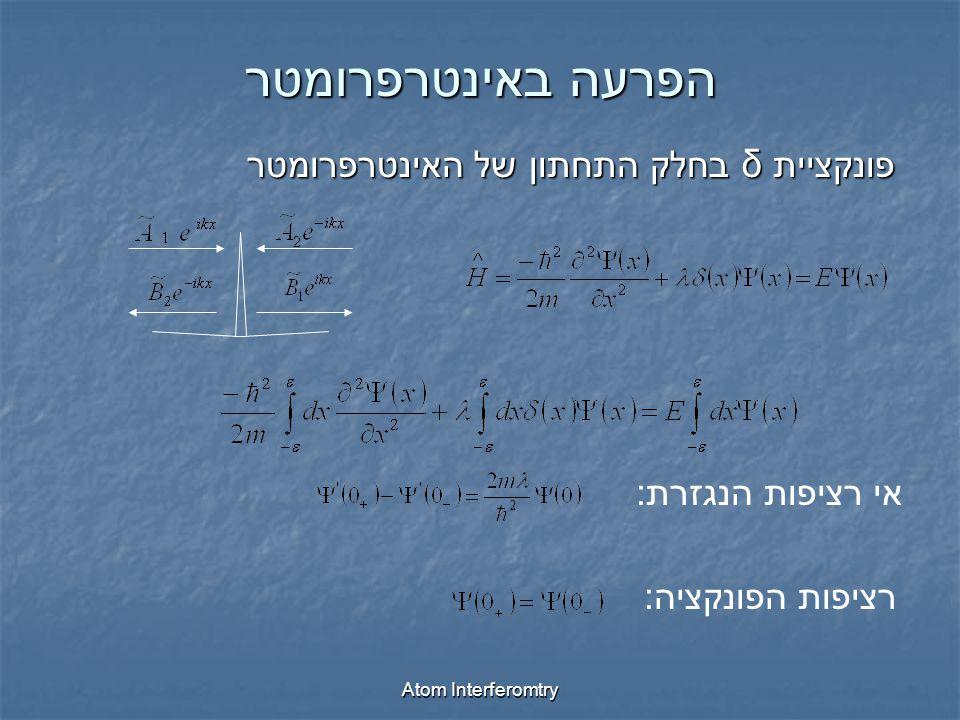 Atom Interferomtry הפרעה באינטרפרומטר פונקציית δ בחלק התחתון של האינטרפרומטר אי רציפות הנגזרת : רציפות הפונקציה :