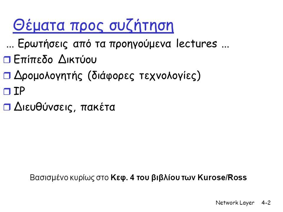 Network Layer4-2 Θέματα προς συζήτηση... Ερωτήσεις από τα προηγούμενα lectures...