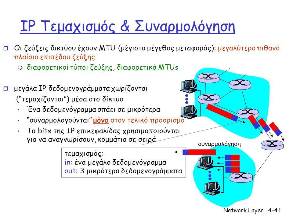 Network Layer4-41 IP Τεμαχισμός & Συναρμολόγηση r Οι ζεύξεις δικτύου έχουν MTU (μέγιστο μέγεθος μεταφοράς): μεγαλύτερο πιθανό πλαίσιο επιπέδου ζεύξης m διαφορετικοί τύποι ζεύξης, διαφορετικά MTUs r μεγάλα IP δεδομενογράμματα χωρίζονται ( τεμαχίζονται ) μέσα στο δίκτυο Ένα δεδομενόγραμμα σπάει σε μικρότερα συναρμολογούνται μόνο στον τελικό προορισμό Τα bits της IP επικεφαλίδας χρησιμοποιούνται για να αναγνωρίσουν, κομμάτια σε σειρά συναρμολόγηση τεμαχισμός: in: ένα μεγάλο δεδομενόγραμμα out: 3 μικρότερα δεδομενογράμματα