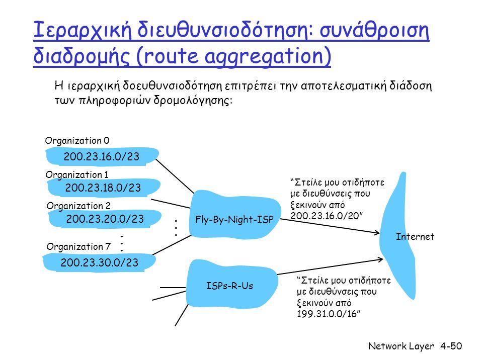 Network Layer4-50 Ιεραρχική διευθυνσιοδότηση: συνάθροιση διαδρομής (route aggregation) Στείλε μου οτιδήποτε με διευθύνσεις που ξεκινούν από 200.23.16.0/20 200.23.16.0/23200.23.18.0/23200.23.30.0/23 Fly-By-Night-ISP Organization 0 Organization 7 Internet Organization 1 ISPs-R-Us Στείλε μου οτιδήποτε με διευθύνσεις που ξεκινούν από 199.31.0.0/16 200.23.20.0/23 Organization 2......
