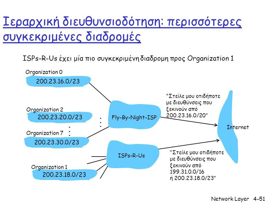 Network Layer4-51 Ιεραρχική διευθυνσιοδότηση: περισσότερες συγκεκριμένες διαδρομές ISPs-R-Us έχει μία πιο συγκεκριμένη διαδρομη προς Organization 1 Στείλε μου οτιδήποτε με διευθύνσεις που ξεκινούν από 200.23.16.0/20 200.23.16.0/23200.23.18.0/23200.23.30.0/23 Fly-By-Night-ISP Organization 0 Organization 7 Internet Organization 1 ISPs-R-Us Στείλε μου οτιδήποτε με διευθύνσεις που ξεκινούν από 199.31.0.0/16 ή 200.23.18.0/23 200.23.20.0/23 Organization 2......
