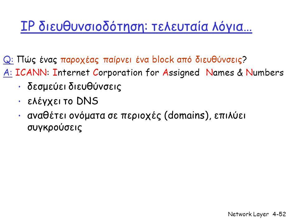 Network Layer4-52 IP διευθυνσιοδότηση: τελευταία λόγια… Q: Πώς ένας παροχέας παίρνει ένα block από διευθύνσεις.