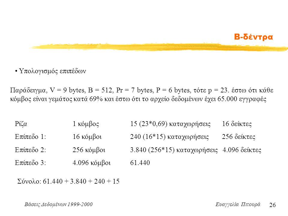 Βάσεις Δεδομένων 1999-2000 Ευαγγελία Πιτουρά 26 Β-δέντρα Υπολογισμός επιπέδων Παράδειγμα, V = 9 bytes, B = 512, Pr = 7 bytes, P = 6 bytes, τότε p = 23.
