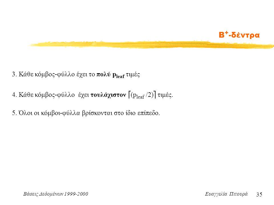 Βάσεις Δεδομένων 1999-2000 Ευαγγελία Πιτουρά 35 Β + -δέντρα 3.