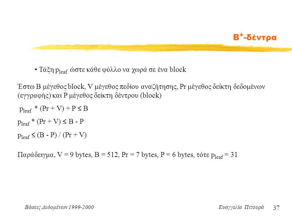 Βάσεις Δεδομένων 1999-2000 Ευαγγελία Πιτουρά 37 Β + -δέντρα Τάξη p leaf ώστε κάθε φύλλο να χωρά σε ένα block Έστω Β μέγεθος block, V μέγεθος πεδίου αναζήτησης, Pr μέγεθος δείκτη δεδομένων (εγγραφής) και P μέγεθος δείκτη δέντρου (block) p leaf * (Pr + V) + P  B p leaf * (Pr + V)  B - P p leaf  (B - P) / (Pr + V) Παράδειγμα, V = 9 bytes, B = 512, Pr = 7 bytes, P = 6 bytes, τότε p leaf = 31