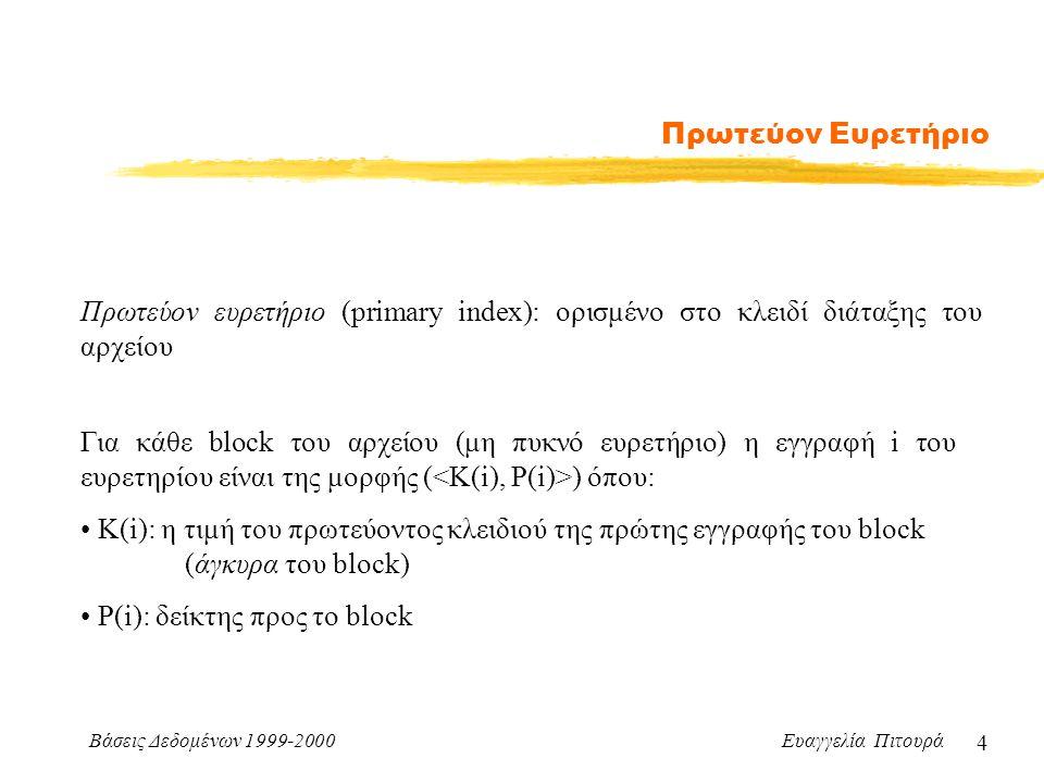 Βάσεις Δεδομένων 1999-2000 Ευαγγελία Πιτουρά 4 Πρωτεύον Ευρετήριο Πρωτεύον ευρετήριο (primary index): ορισμένο στο κλειδί διάταξης του αρχείου Για κάθε block του αρχείου (μη πυκνό ευρετήριο) η εγγραφή i του ευρετηρίου είναι της μορφής ( ) όπου: Κ(i): η τιμή του πρωτεύοντος κλειδιού της πρώτης εγγραφής του block (άγκυρα του block) P(i): δείκτης προς το block