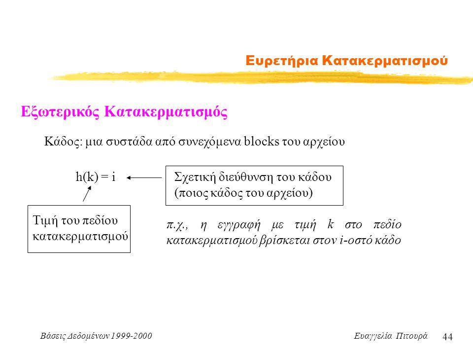 Βάσεις Δεδομένων 1999-2000 Ευαγγελία Πιτουρά 44 Ευρετήρια Κατακερματισμού Εξωτερικός Κατακερματισμός h(k) = i Τιμή του πεδίου κατακερματισμού Σχετική διεύθυνση του κάδου (ποιος κάδος του αρχείου) Κάδος: μια συστάδα από συνεχόμενα blocks του αρχείου π.χ., η εγγραφή με τιμή k στο πεδίο κατακερματισμού βρίσκεται στον i-οστό κάδο