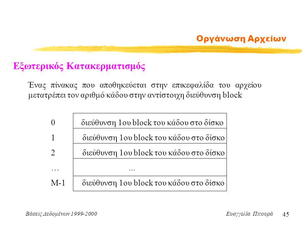 Βάσεις Δεδομένων 1999-2000 Ευαγγελία Πιτουρά 45 Οργάνωση Αρχείων Εξωτερικός Κατακερματισμός Ένας πίνακας που αποθηκεύεται στην επικεφαλίδα του αρχείου μετατρέπει τον αριθμό κάδου στην αντίστοιχη διεύθυνση block 0διεύθυνση 1ου block του κάδου στο δίσκο 1 διεύθυνση 1ου block του κάδου στο δίσκο 2 διεύθυνση 1ου block του κάδου στο δίσκο …...