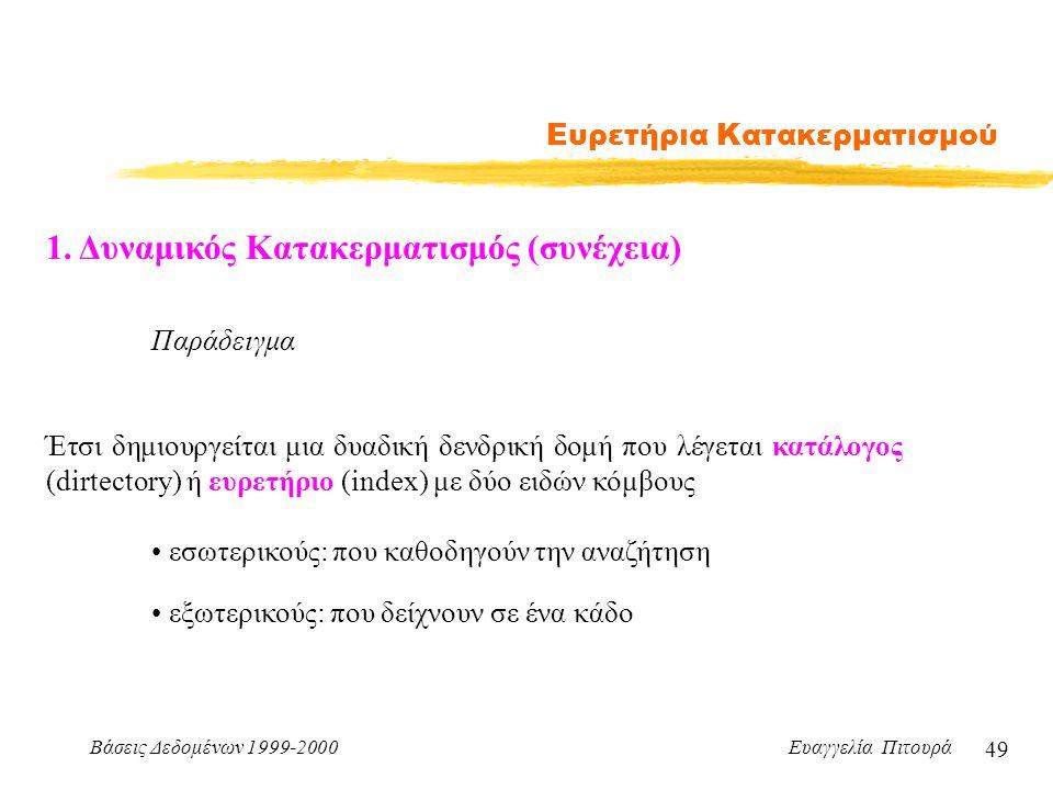Βάσεις Δεδομένων 1999-2000 Ευαγγελία Πιτουρά 49 Ευρετήρια Κατακερματισμού 1.
