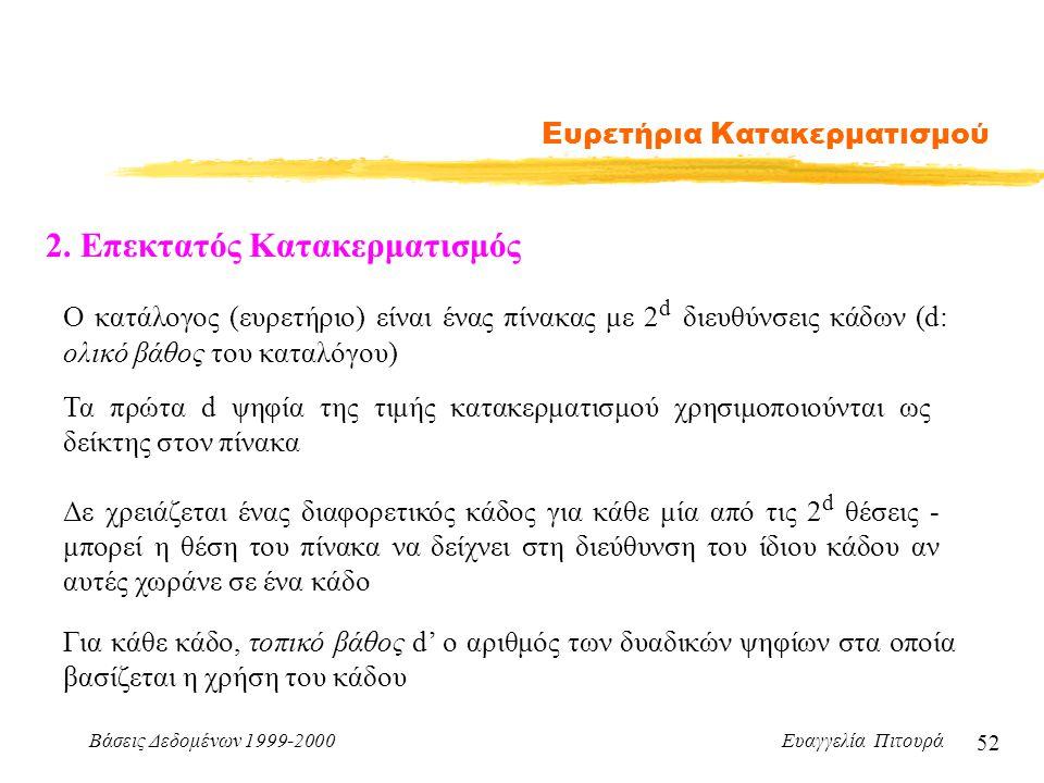Βάσεις Δεδομένων 1999-2000 Ευαγγελία Πιτουρά 52 Ευρετήρια Κατακερματισμού 2.