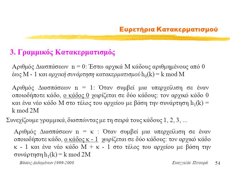 Βάσεις Δεδομένων 1999-2000 Ευαγγελία Πιτουρά 54 Ευρετήρια Κατακερματισμού 3.
