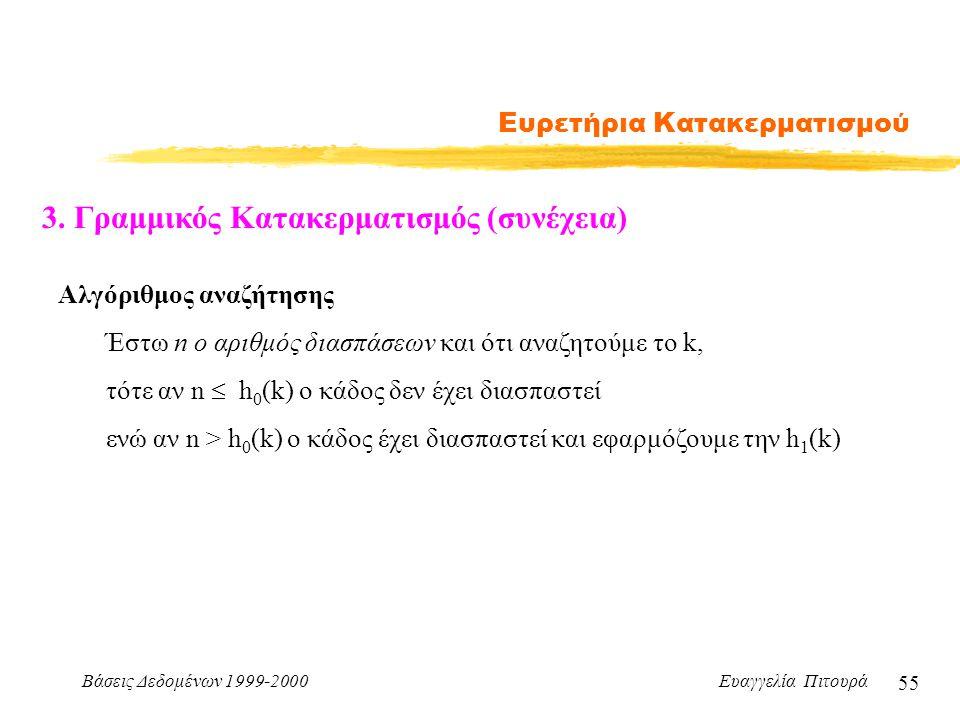 Βάσεις Δεδομένων 1999-2000 Ευαγγελία Πιτουρά 55 Ευρετήρια Κατακερματισμού 3.