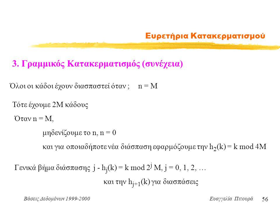 Βάσεις Δεδομένων 1999-2000 Ευαγγελία Πιτουρά 56 Ευρετήρια Κατακερματισμού 3.