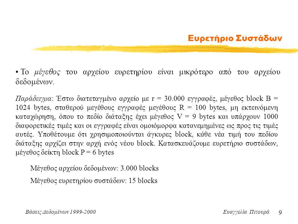 Βάσεις Δεδομένων 1999-2000 Ευαγγελία Πιτουρά 9 Ευρετήριο Συστάδων Το μέγεθος του αρχείου ευρετηρίου είναι μικρότερο από του αρχείου δεδομένων.