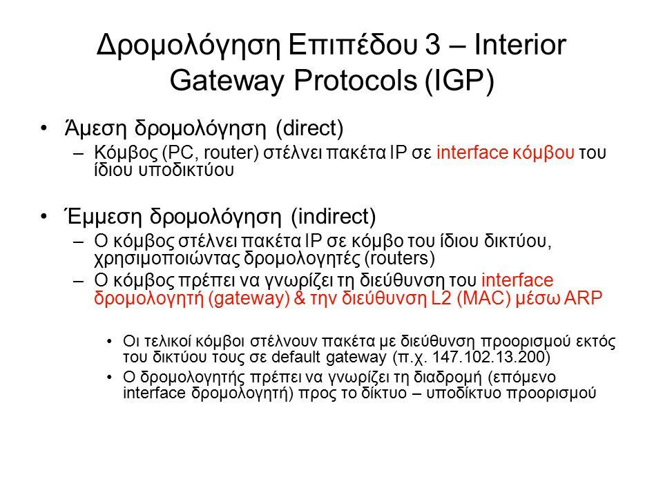 Πίνακας δρομολόγησης σε Host (host routing table) Εγγραφές του τύπου (N, R) –N: Δίκτυο προορισμού –R: Επόμενο interface δρομολογητή (gateway) Host routing table σε λειτουργικό Windows από το μηχάνημα με IP 147.102.13.32 > netstat -nr Routing Table: Network Destination Netmask Gateway Interface Metric 0.0.0.0 0.0.0.0 147.102.13.200 147.102.13.32 20 127.0.0.0 255.0.0.0 127.0.0.1 127.0.0.1 1 147.102.13.0 255.255.255.0 147.102.13.32 147.102.13.32 20 147.102.13.32 255.255.255.255 127.0.0.1 127.0.0.1 20 147.102.255.255 255.255.255.255 147.102.13.32 147.102.13.32 20 224.0.0.0 240.0.0.0 147.102.13.32 147.102.13.32 20 Local host: 127.0.0.0 (π.χ.