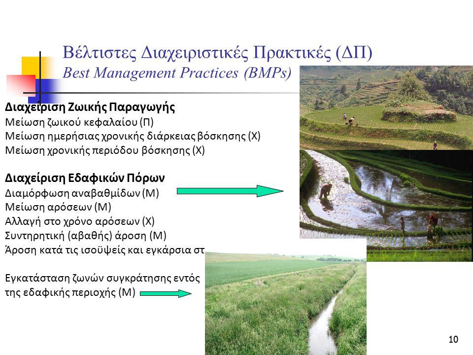 10 Βέλτιστες Διαχειριστικές Πρακτικές (ΔΠ) Best Management Practices (BMPs) Διαχείριση Ζωικής Παραγωγής Μείωση ζωικού κεφαλαίου (Π) Μείωση ημερήσιας χ