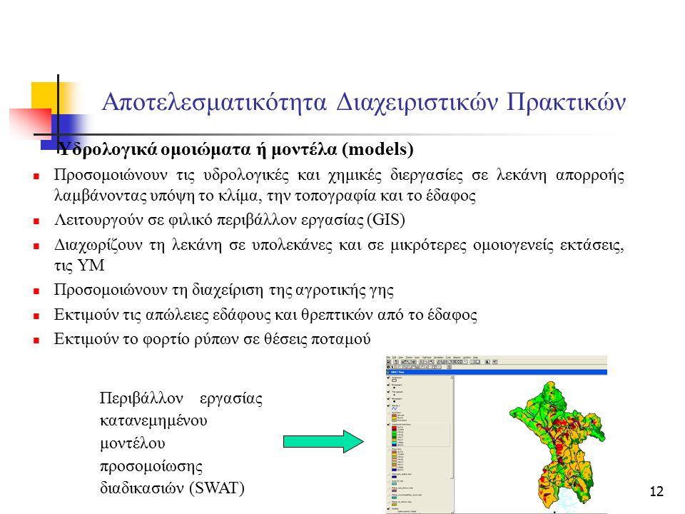 12 Αποτελεσματικότητα Διαχειριστικών Πρακτικών Υδρολογικά ομοιώματα ή μοντέλα (models) Προσομοιώνουν τις υδρολογικές και χημικές διεργασίες σε λεκάνη