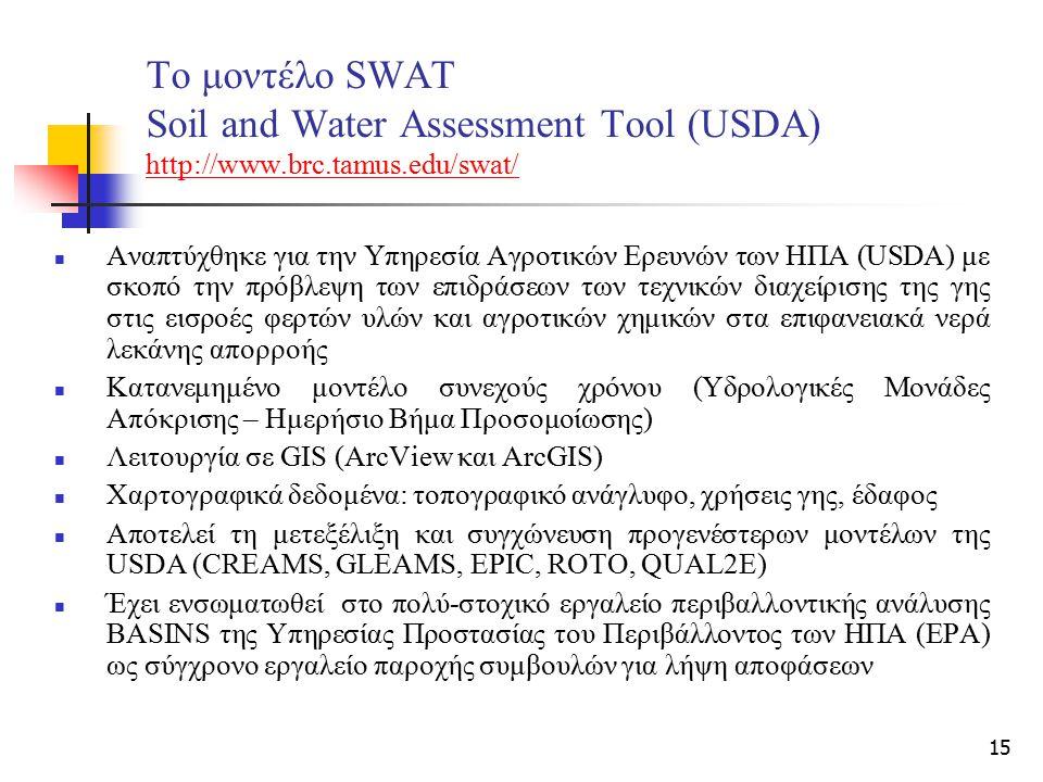 15 Το μοντέλο SWAT Soil and Water Assessment Tool (USDA) http://www.brc.tamus.edu/swat/ http://www.brc.tamus.edu/swat/ Αναπτύχθηκε για την Υπηρεσία Αγ