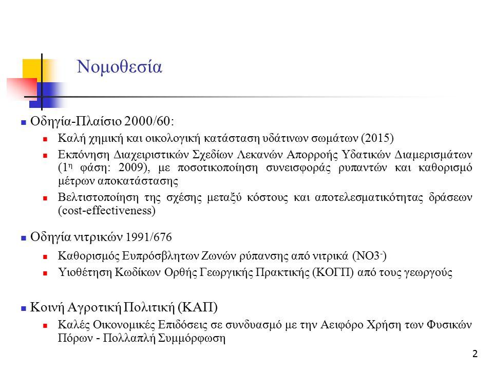 2 Νομοθεσία Οδηγία-Πλαίσιο 2000/60: Καλή χημική και οικολογική κατάσταση υδάτινων σωμάτων (2015) Εκπόνηση Διαχειριστικών Σχεδίων Λεκανών Aπορροής Υδατ