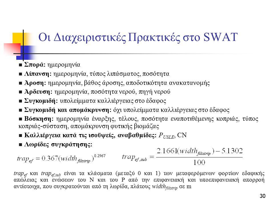 30 Οι Διαχειριστικές Πρακτικές στο SWAT Σπορά: ημερομηνία Λίπανση: ημερομηνία, τύπος λιπάσματος, ποσότητα Άροση: ημερομηνία, βάθος άροσης, αποδοτικότη