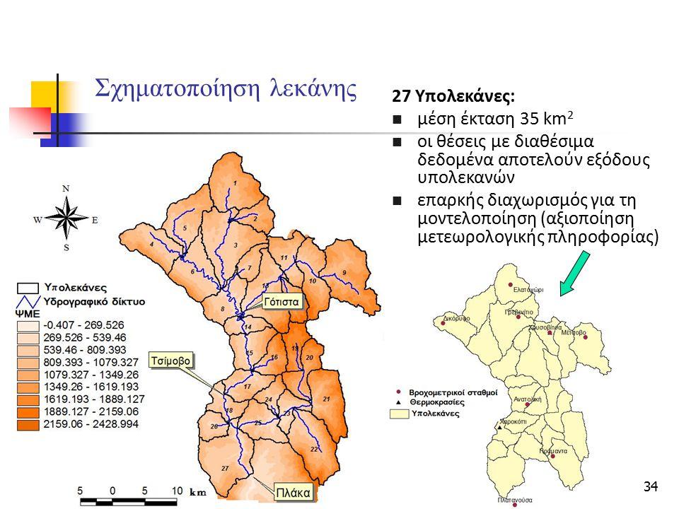 34 Σχηματοποίηση λεκάνης 27 Υπολεκάνες: μέση έκταση 35 km 2 οι θέσεις με διαθέσιμα δεδομένα αποτελούν εξόδους υπολεκανών επαρκής διαχωρισμός για τη μο