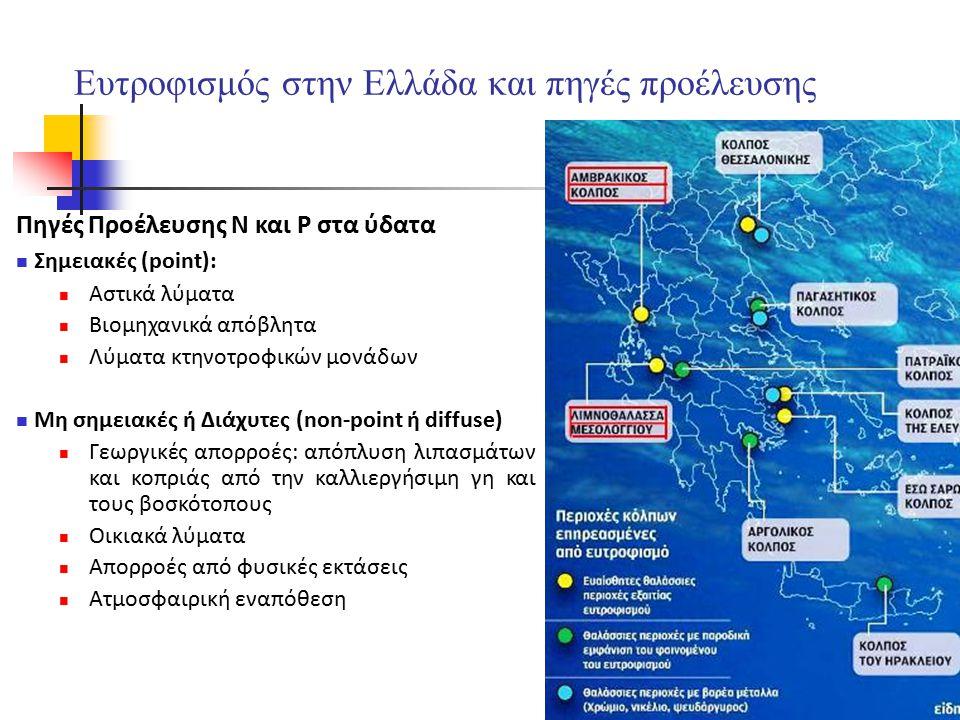 4 4 Ευτροφισμός στην Ελλάδα και πηγές προέλευσης Πηγές Προέλευσης Ν και P στα ύδατα Σημειακές (point): Αστικά λύματα Βιομηχανικά απόβλητα Λύματα κτηνο