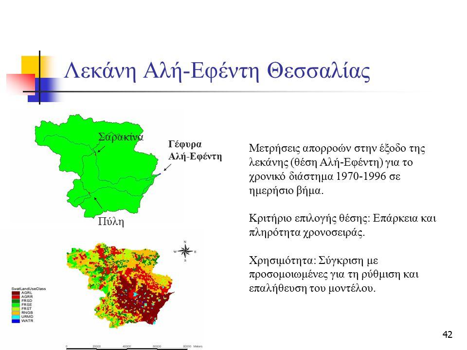 42 Λεκάνη Αλή-Εφέντη Θεσσαλίας Σαρακίνα Πύλη Γέφυρα Αλή-Εφέντη Μετρήσεις απορροών στην έξοδο της λεκάνης (θέση Αλή-Εφέντη) για το χρονικό διάστημα 197