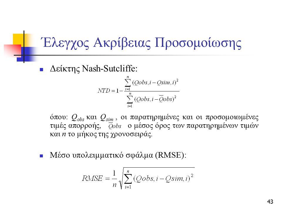 43 Έλεγχος Ακρίβειας Προσομοίωσης Δείκτης Nash-Sutcliffe: όπου: Q obs και Q sim, οι παρατηρημένες και οι προσομοιωμένες τιμές απορροής, ο μέσος όρος τ