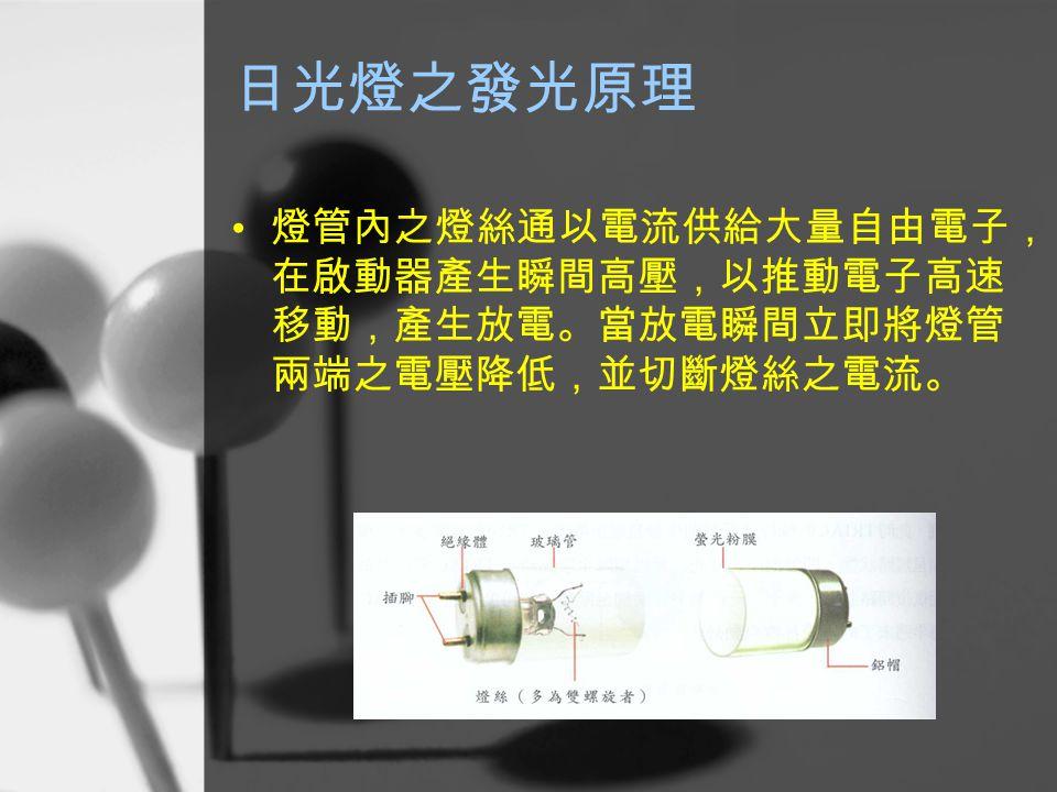 日光燈之發光原理 燈管內之燈絲通以電流供給大量自由電子, 在啟動器產生瞬間高壓,以推動電子高速 移動,產生放電。當放電瞬間立即將燈管 兩端之電壓降低,並切斷燈絲之電流。