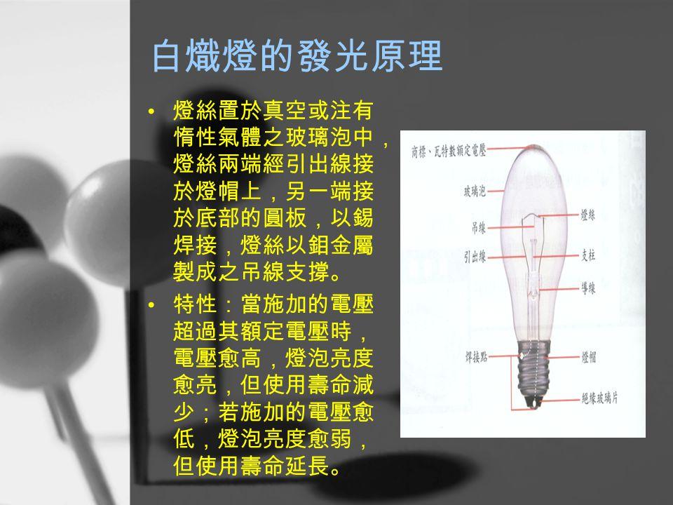 白熾燈的發光原理 燈絲置於真空或注有 惰性氣體之玻璃泡中, 燈絲兩端經引出線接 於燈帽上,另一端接 於底部的圓板,以錫 焊接,燈絲以鉬金屬 製成之吊線支撐。 特性:當施加的電壓 超過其額定電壓時, 電壓愈高,燈泡亮度 愈亮,但使用壽命減 少;若施加的電壓愈 低,燈泡亮度愈弱, 但使用壽命延長。