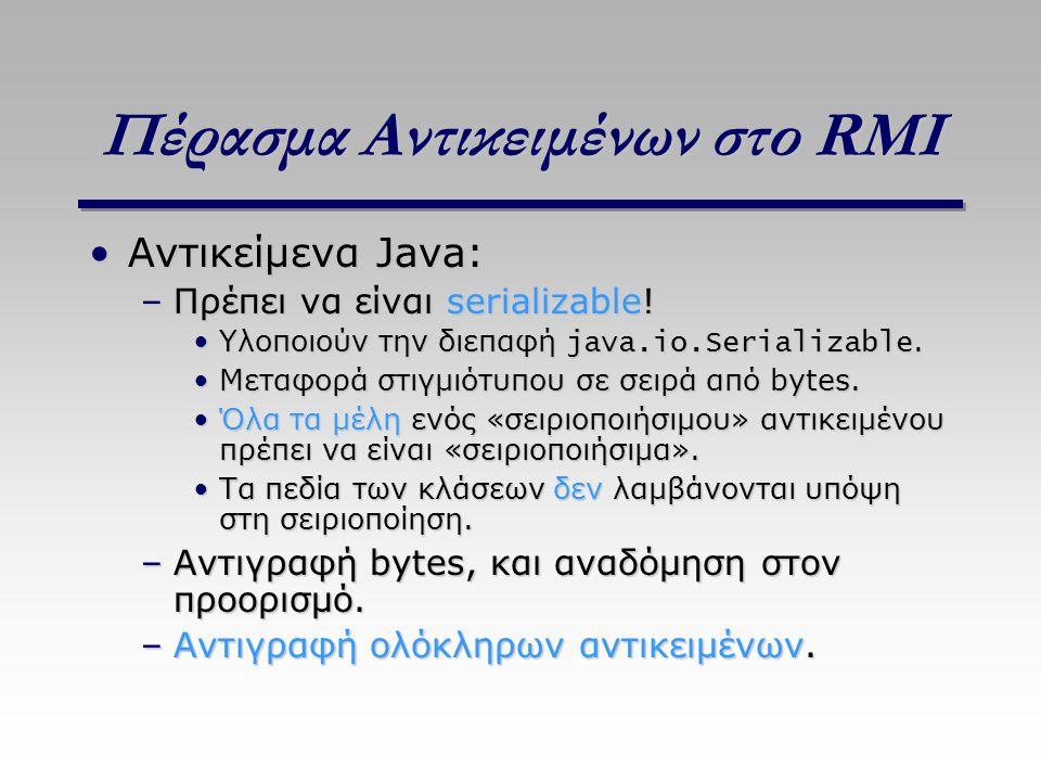 Πέρασμα Αντικειμένων στο RMI Αντικείμενα Java:Αντικείμενα Java: –Πρέπει να είναι serializable! Υλοποιούν την διεπαφή java.io.Serializable.Υλοποιούν τη