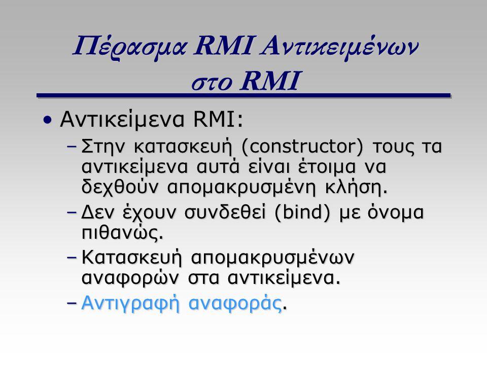 Πέρασμα RMI Αντικειμένων στο RMI Αντικείμενα RMI:Αντικείμενα RMI: –Στην κατασκευή (constructor) τους τα αντικείμενα αυτά είναι έτοιμα να δεχθούν απομακρυσμένη κλήση.