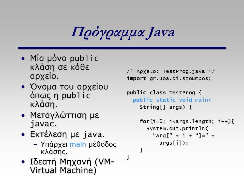 Πρόγραμμα Java Μία μόνο public κλάση σε κάθε αρχείο.Μία μόνο public κλάση σε κάθε αρχείο. Όνομα του αρχείου όπως η public κλάση.Όνομα του αρχείου όπως