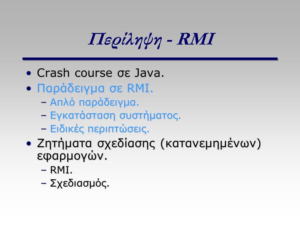 Περίληψη - RMI Crash course σε Java.Crash course σε Java. Παράδειγμα σε RMI.Παράδειγμα σε RMI. –Απλό παράδειγμα. –Εγκατάσταση συστήματος. –Ειδικές περ