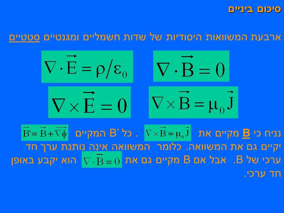 סיכום ביניים ארבעת המשוואות היסודיות של שדות חשמליים ומגנטיים סטטיים נניח כי B מקיים את. כל B' המקיים יקיים גם את המשוואה. כלומר המשוואה אינה נותנת ער