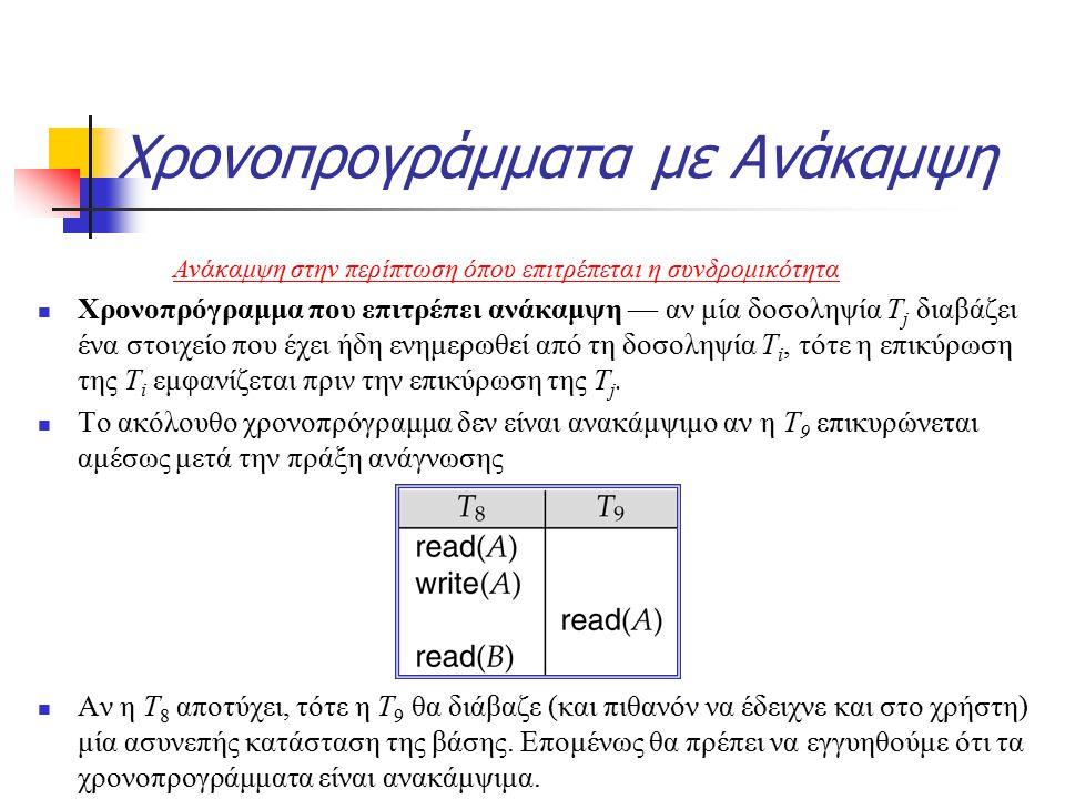 Χρονοπρογράμματα με Ανάκαμψη Χρονοπρόγραμμα που επιτρέπει ανάκαμψη — αν μία δοσοληψία T j διαβάζει ένα στοιχείο που έχει ήδη ενημερωθεί από τη δοσοληψία T i, τότε η επικύρωση της T i εμφανίζεται πριν την επικύρωση της T j.